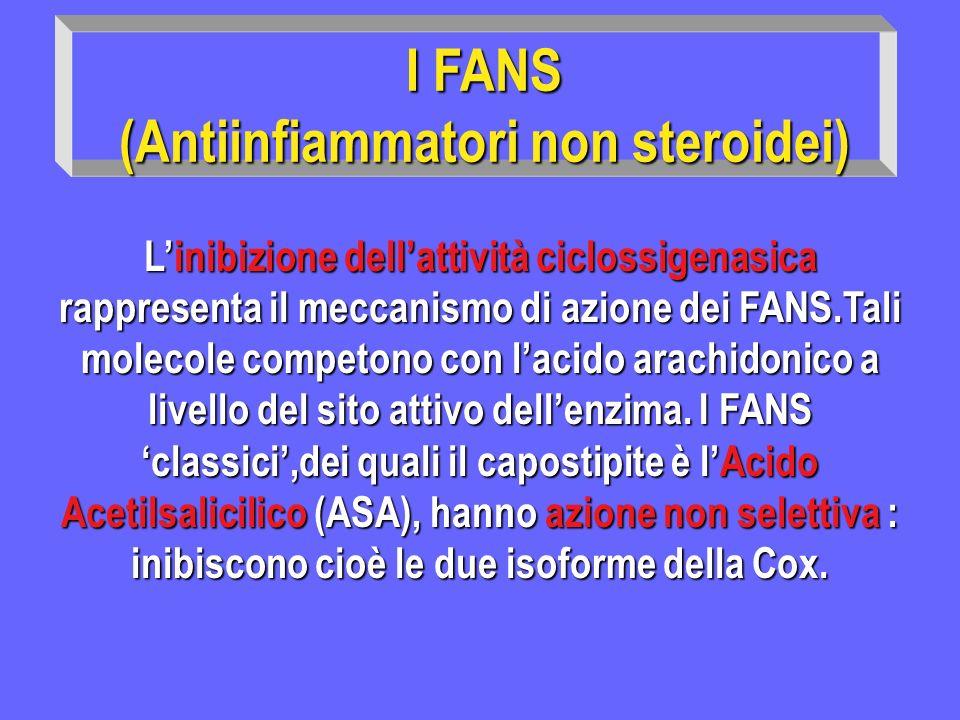 I FANS II (Antiinfiammatori non steroidei) Inibizione Cox 1 Maggiori effetti collaterali: gastrici, renali,complicanze gastrici, renali,complicanze emorragiche.