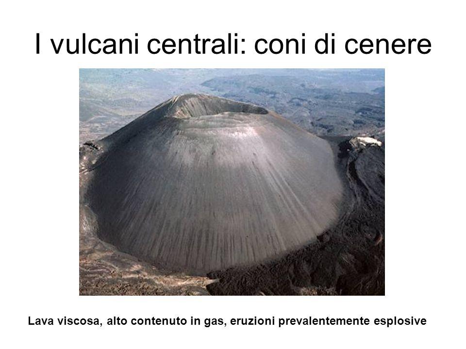 Vulcani centrali: vulcani a scudo Lava fluida, eruzioni effusive, coni ampi e poco pendenti, rapporto base altezza molto alto (es.