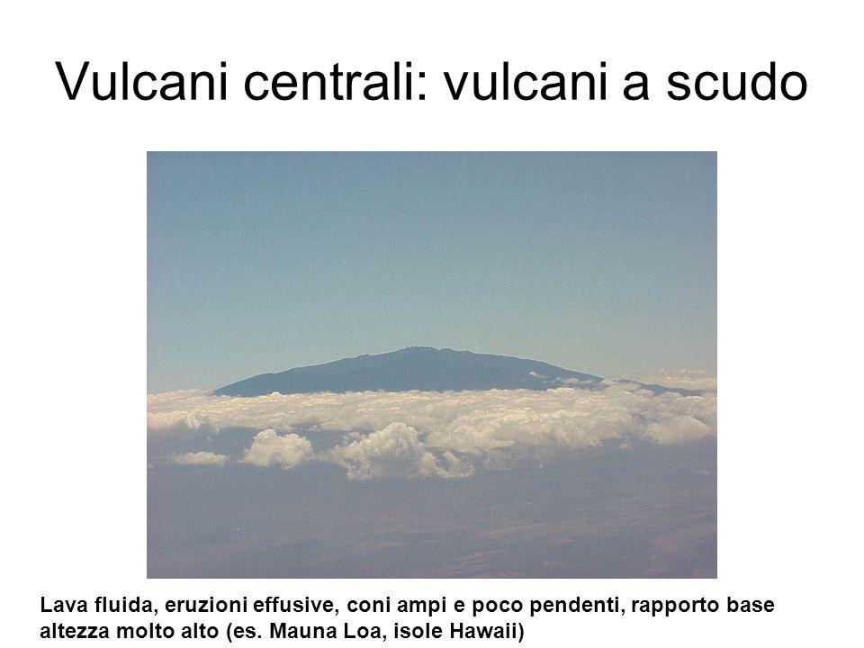 Vulcani centrali: vulcani a scudo Lava fluida, eruzioni effusive, coni ampi e poco pendenti, rapporto base altezza molto alto (es. Mauna Loa, isole Ha