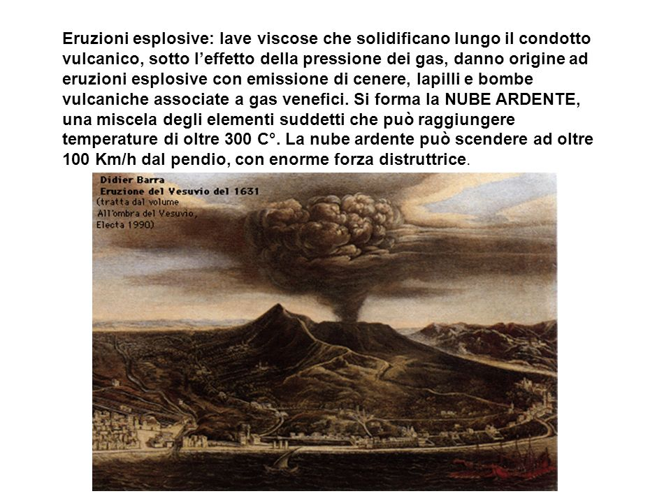Eruzioni esplosive: lave viscose che solidificano lungo il condotto vulcanico, sotto leffetto della pressione dei gas, danno origine ad eruzioni esplo