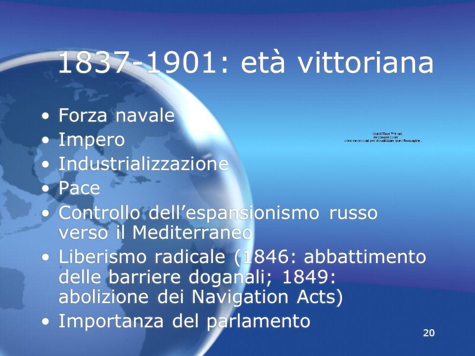 20 1837-1901: età vittoriana Forza navale Impero Industrializzazione Pace Controllo dellespansionismo russo verso il Mediterraneo Liberismo radicale (