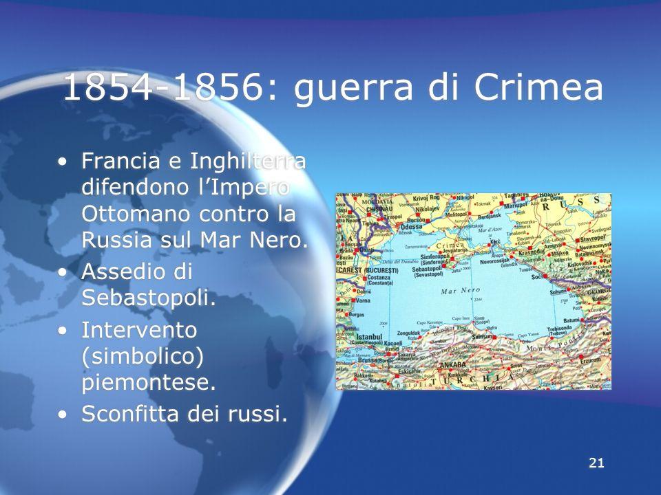 21 1854-1856: guerra di Crimea Francia e Inghilterra difendono lImpero Ottomano contro la Russia sul Mar Nero. Assedio di Sebastopoli. Intervento (sim