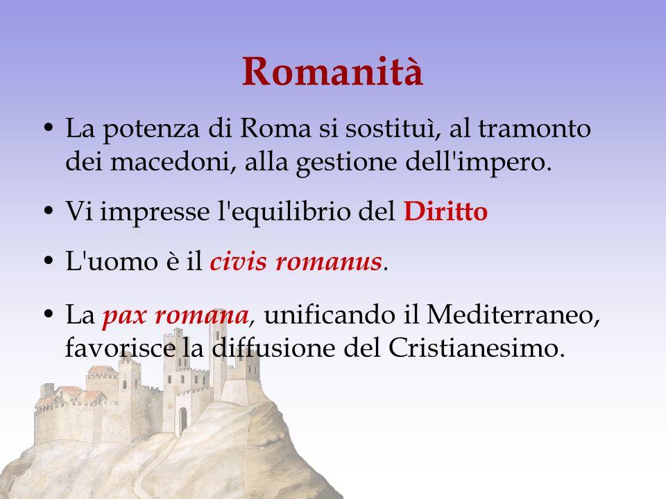Romanità La potenza di Roma si sostituì, al tramonto dei macedoni, alla gestione dell'impero. Vi impresse l'equilibrio del Diritto L'uomo è il civis r