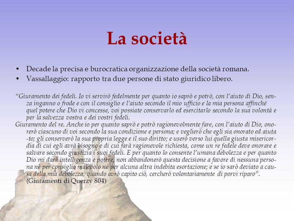 La società Decade la precisa e burocratica organizzazione della società romana. Vassallaggio: rapporto tra due persone di stato giuridico libero. Giur