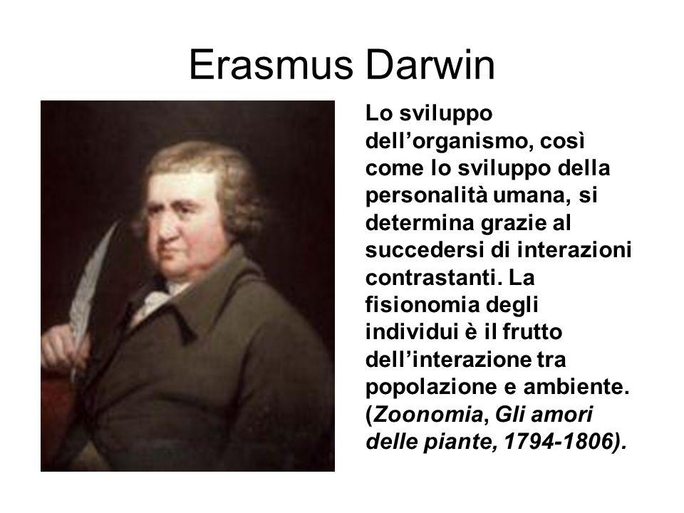Erasmus Darwin Lo sviluppo dellorganismo, così come lo sviluppo della personalità umana, si determina grazie al succedersi di interazioni contrastanti