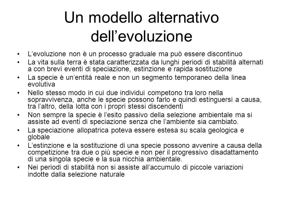Un modello alternativo dellevoluzione Levoluzione non è un processo graduale ma può essere discontinuo La vita sulla terra è stata caratterizzata da l
