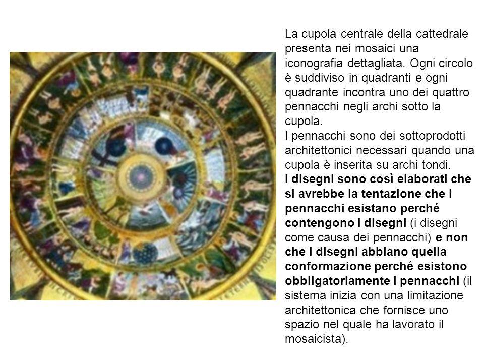 La cupola centrale della cattedrale presenta nei mosaici una iconografia dettagliata. Ogni circolo è suddiviso in quadranti e ogni quadrante incontra