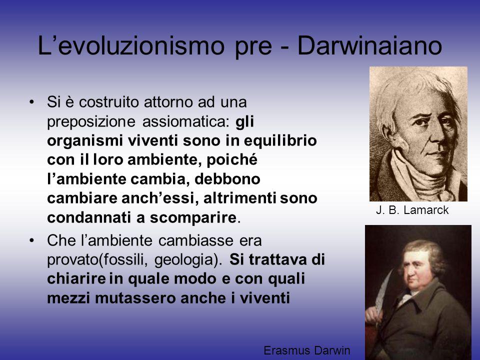Levoluzionismo pre - Darwinaiano Si è costruito attorno ad una preposizione assiomatica: gli organismi viventi sono in equilibrio con il loro ambiente