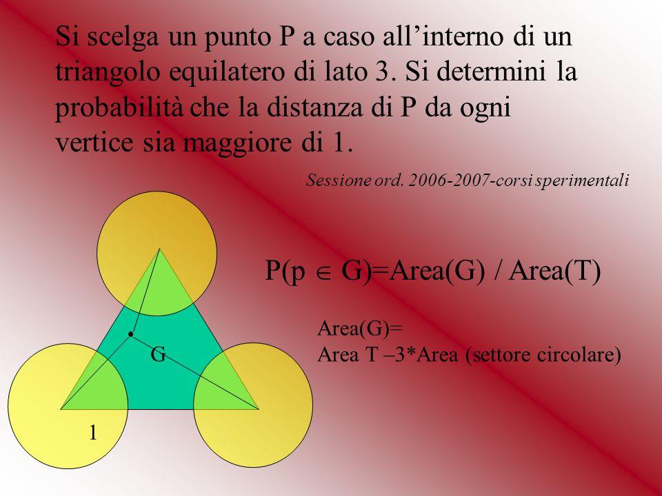 Si scelga un punto P a caso allinterno di un triangolo equilatero di lato 3. Si determini la probabilità che la distanza di P da ogni vertice sia magg