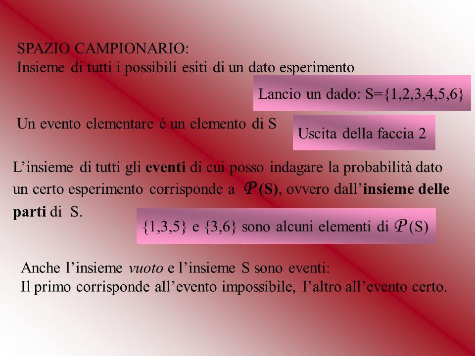 SPAZIO CAMPIONARIO: Insieme di tutti i possibili esiti di un dato esperimento Lancio un dado: S={1,2,3,4,5,6} Un evento elementare è un elemento di S