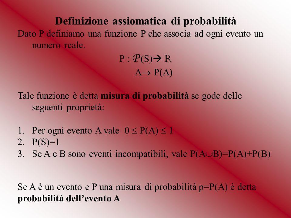 Proprietà S={s 1,s 2,s 3,..,s k,…,s n } 1.Se S ha n elementi la probabilità di ogni evento elementare è P(s k )=1/n 2.La probabilità di un evento impossibile è 0 3.La probabilità di un evento certo è 1 4.Se A e B sono incompatibili allora P(A B)=P(A)+P(B) (*) 5.Se A e sono complementari (o contrari) allora