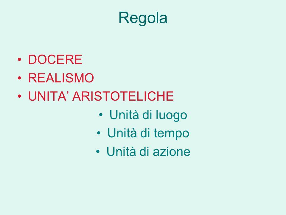 Regola DOCERE REALISMO UNITA ARISTOTELICHE Unità di luogo Unità di tempo Unità di azione