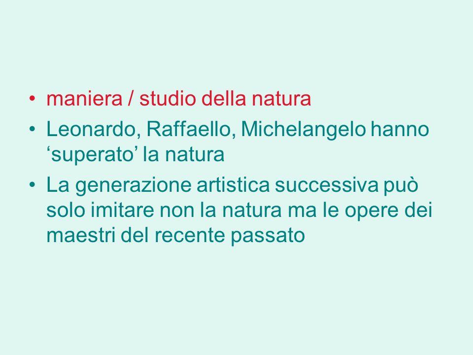 maniera / studio della natura Leonardo, Raffaello, Michelangelo hanno superato la natura La generazione artistica successiva può solo imitare non la natura ma le opere dei maestri del recente passato