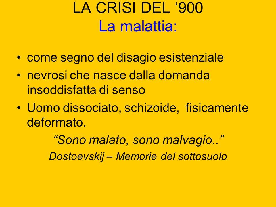 LA CRISI DEL 900 La malattia: come segno del disagio esistenziale nevrosi che nasce dalla domanda insoddisfatta di senso Uomo dissociato, schizoide, f