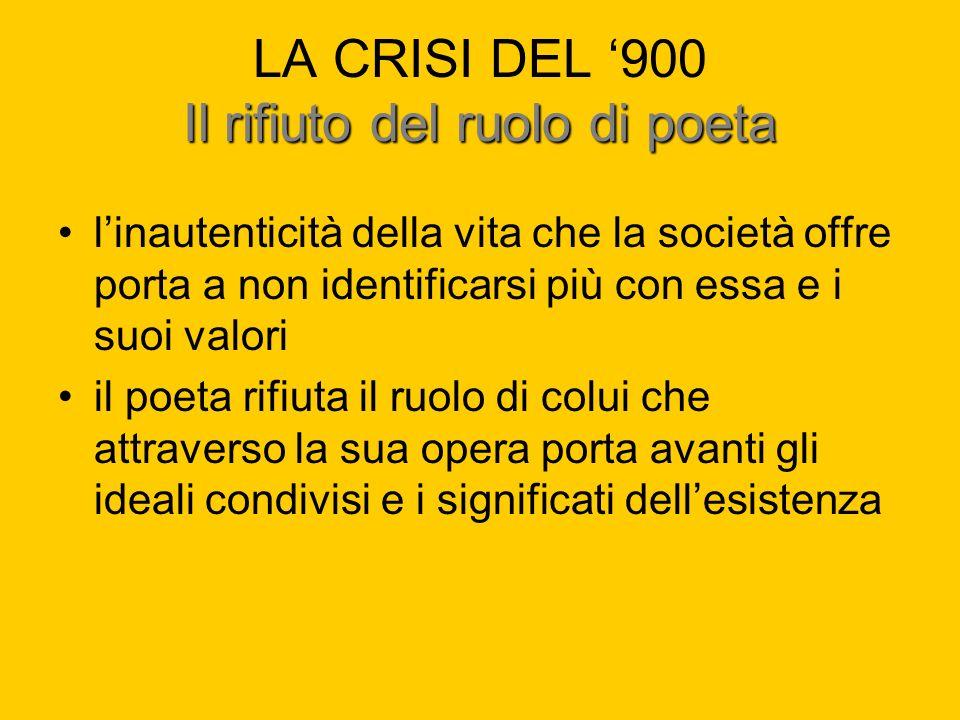 Il rifiuto del ruolo di poeta LA CRISI DEL 900 Il rifiuto del ruolo di poeta linautenticità della vita che la società offre porta a non identificarsi