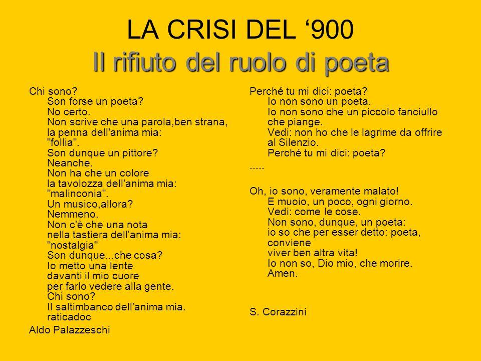 Il rifiuto del ruolo di poeta LA CRISI DEL 900 Il rifiuto del ruolo di poeta Chi sono? Son forse un poeta? No certo. Non scrive che una parola,ben str