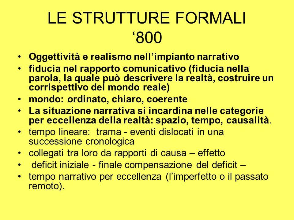 LE STRUTTURE FORMALI 800 Oggettività e realismo nellimpianto narrativo fiducia nel rapporto comunicativo (fiducia nella parola, la quale può descriver