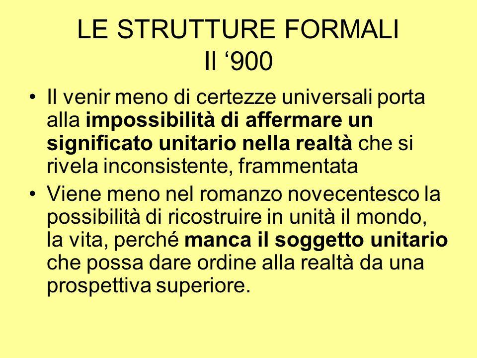 LE STRUTTURE FORMALI Il 900 Il venir meno di certezze universali porta alla impossibilità di affermare un significato unitario nella realtà che si riv
