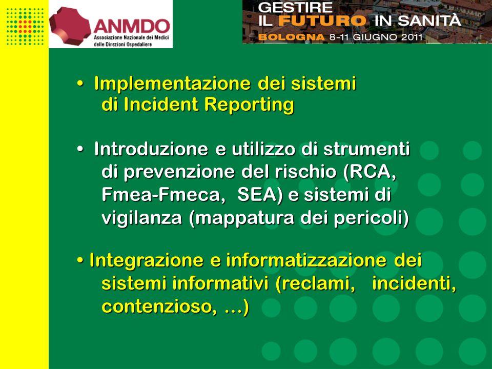 26 Implementazione dei sistemi Implementazione dei sistemi di Incident Reporting Introduzione e utilizzo di strumenti Introduzione e utilizzo di strumenti di prevenzione del rischio (RCA, Fmea-Fmeca, SEA) e sistemi di vigilanza (mappatura dei pericoli) Integrazione e informatizzazione dei sistemi informativi (reclami, incidenti, contenzioso, …)Integrazione e informatizzazione dei sistemi informativi (reclami, incidenti, contenzioso, …)