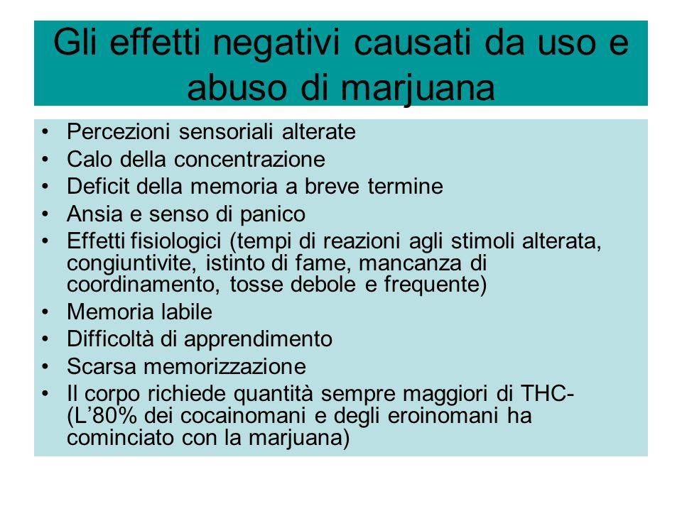 Gli effetti negativi causati da uso e abuso di marjuana Percezioni sensoriali alterate Calo della concentrazione Deficit della memoria a breve termine