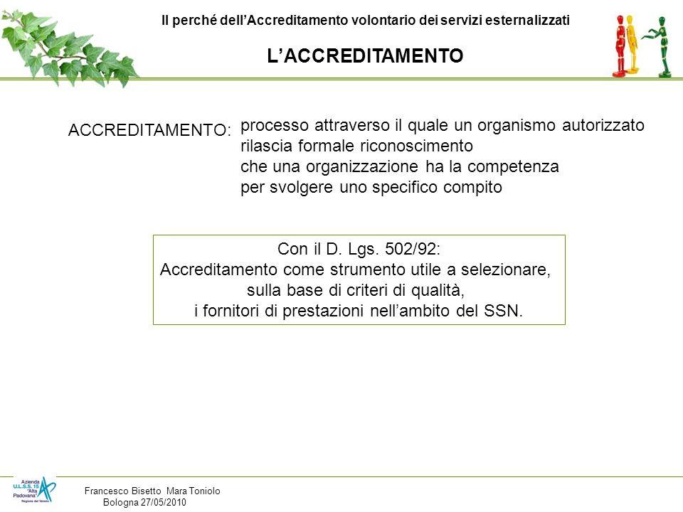 Il perché dellAccreditamento volontario dei servizi esternalizzati LACCREDITAMENTO ACCREDITAMENTO: processo attraverso il quale un organismo autorizza