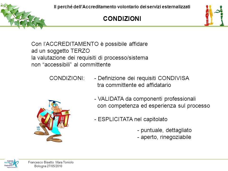 Il perché dellAccreditamento volontario dei servizi esternalizzati CONDIZIONI Con lACCREDITAMENTO è possibile affidare ad un soggetto TERZO la valutaz