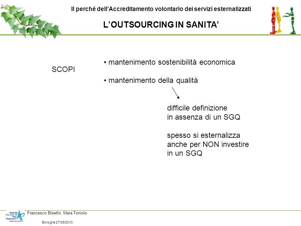 Il perché dellAccreditamento volontario dei servizi esternalizzati VANTAGGI PER LAZIENDA ESTERNALIZZAZIONE dei CONTROLLI RAZIONALIZZAZIONE dei CONTROLLI PARTNERSHIP TRASPARENZA EFFICIENZA EFFICACIA Francesco Bisetto Mara Toniolo Bologna 27/05/2010