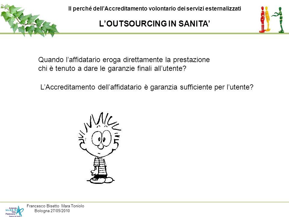 Il perché dellAccreditamento volontario dei servizi esternalizzati LOUTSOURCING IN SANITA Francesco Bisetto Mara Toniolo Bologna 27/05/2010 Quando laf