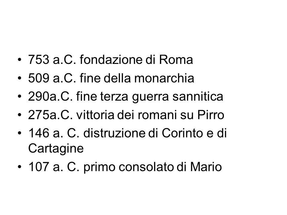 753 a.C. fondazione di Roma 509 a.C. fine della monarchia 290a.C. fine terza guerra sannitica 275a.C. vittoria dei romani su Pirro 146 a. C. distruzio