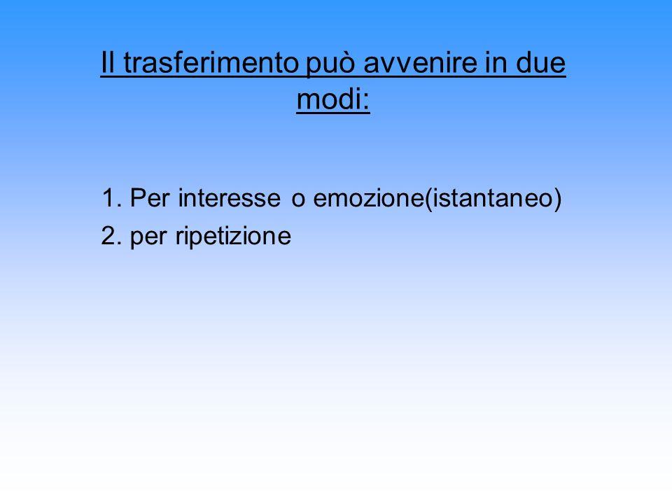 1. Per interesse o emozione(istantaneo) 2. per ripetizione Il trasferimento può avvenire in due modi: