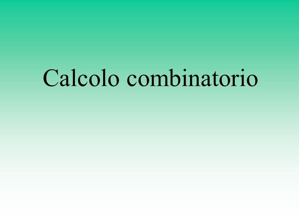 Combinazioni senza ripetizione Le combinazioni semplici di k elementi su n sono gli allineamenti possibili di k elementi distinti presi da n oggetti senza essere ripetuti, allineamenti che si distinguono esclusivamente per gli elementi che raccolgono e non per lordine.