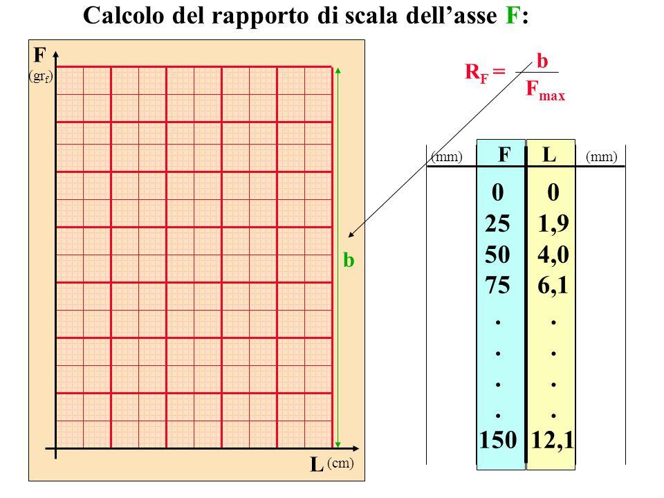F (gr f ) L (cm) FL 0 25 50 75. 150 0 1,9 4,0 6,1. 12,1 Calcolo del rapporto di scala dellasse F: R F = b F max (mm) b