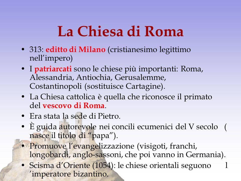 La Chiesa di Roma 313: editto di Milano (cristianesimo legittimo nellimpero) I patriarcati sono le chiese più importanti: Roma, Alessandria, Antiochia