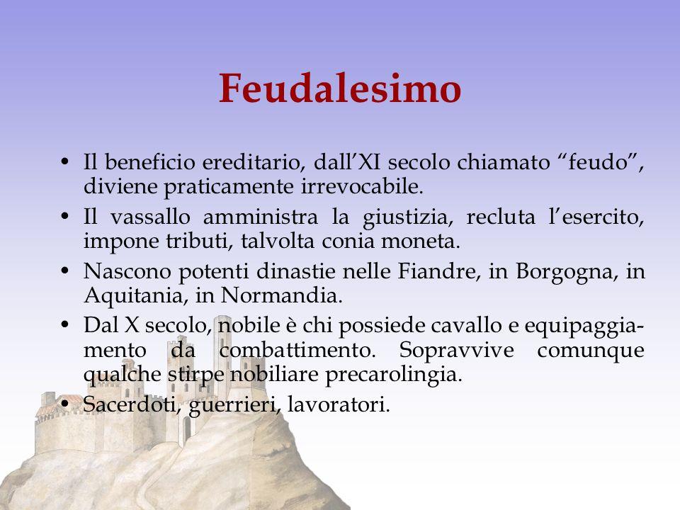 Feudalesimo Il beneficio ereditario, dallXI secolo chiamato feudo, diviene praticamente irrevocabile. Il vassallo amministra la giustizia, recluta les