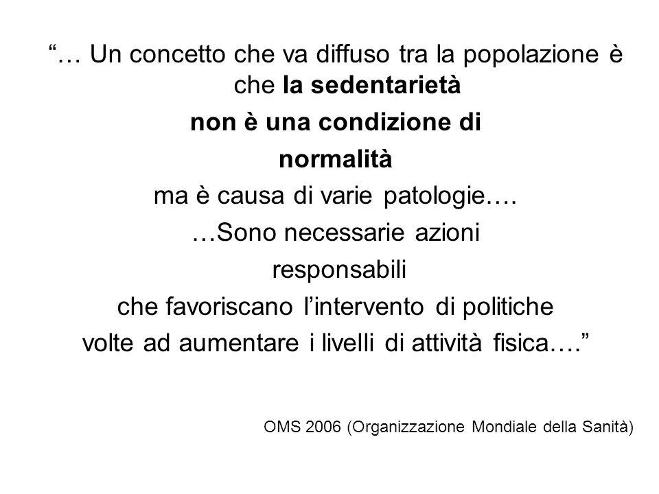 … Un concetto che va diffuso tra la popolazione è che la sedentarietà non è una condizione di normalità ma è causa di varie patologie…. …Sono necessar