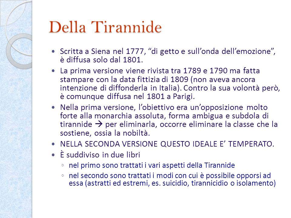 Della Tirannide Scritta a Siena nel 1777, di getto e sullonda dellemozione, è diffusa solo dal 1801. La prima versione viene rivista tra 1789 e 1790 m