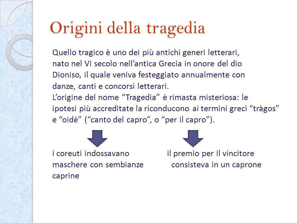 Origini della tragedia Quello tragico è uno dei più antichi generi letterari, nato nel VI secolo nellantica Grecia in onore del dio Dioniso, il quale