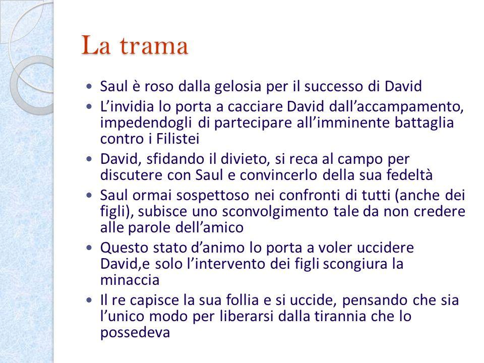 La trama Saul è roso dalla gelosia per il successo di David Linvidia lo porta a cacciare David dallaccampamento, impedendogli di partecipare allimmine