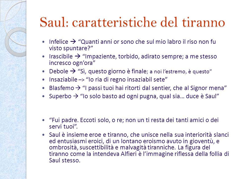 Saul: caratteristiche del tiranno Infelice Quanti anni or sono che sul mio labro il riso non fu visto spuntare? Irascibile Impaziente, torbido, adirat