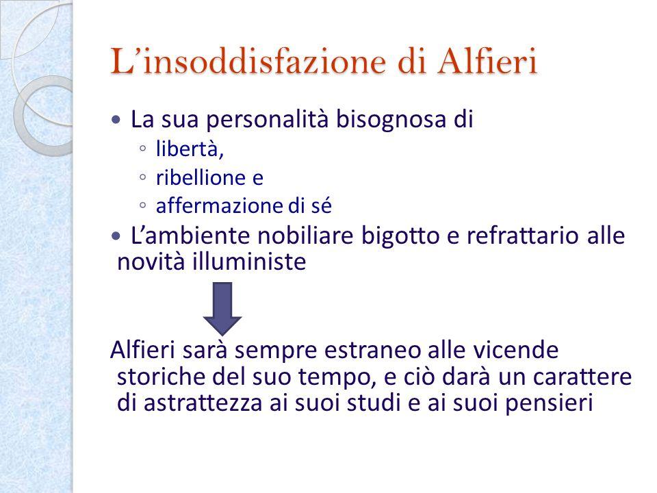 Linsoddisfazione di Alfieri La sua personalità bisognosa di libertà, ribellione e affermazione di sé Lambiente nobiliare bigotto e refrattario alle no