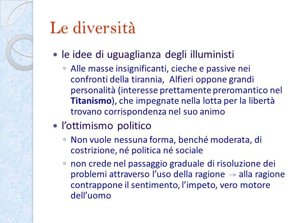 Le diversità le idee di uguaglianza degli illuministi Alle masse insignificanti, cieche e passive nei confronti della tirannia, Alfieri oppone grandi