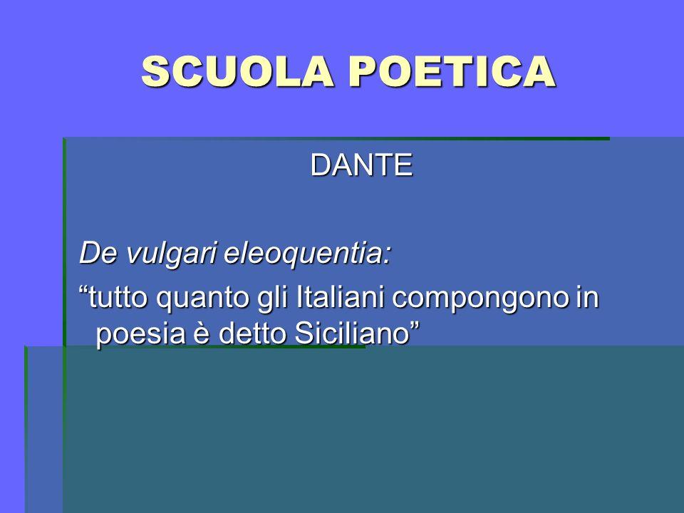 SCUOLA POETICA DANTE De vulgari eleoquentia: De vulgari eleoquentia: tutto quanto gli Italiani compongono in poesia è detto Siciliano tutto quanto gli