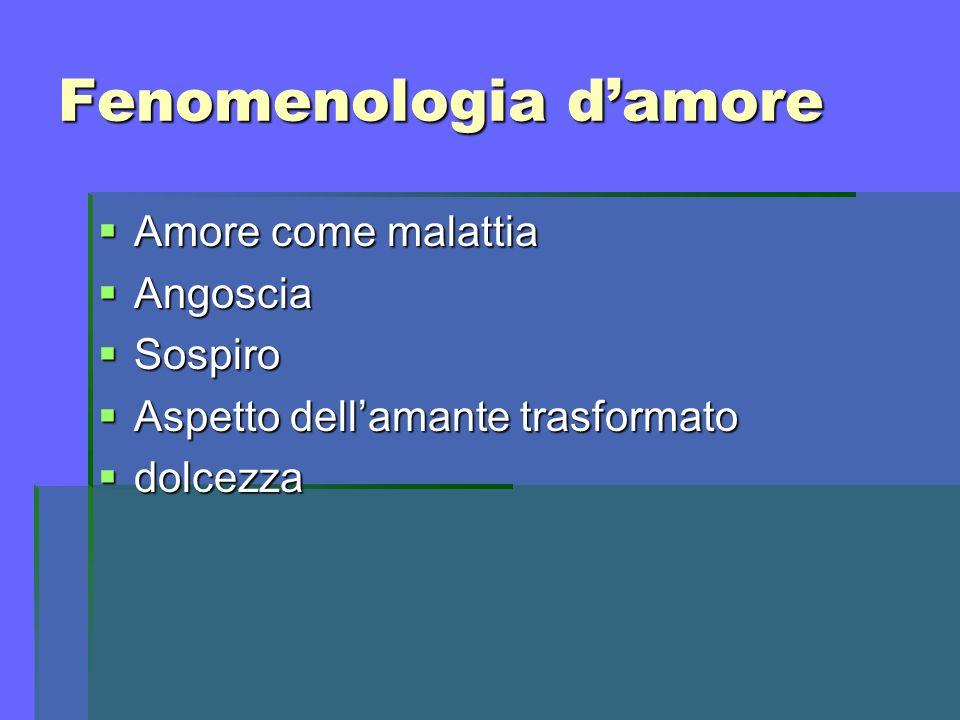 Fenomenologia damore Amore come malattia Amore come malattia Angoscia Angoscia Sospiro Sospiro Aspetto dellamante trasformato Aspetto dellamante trasf