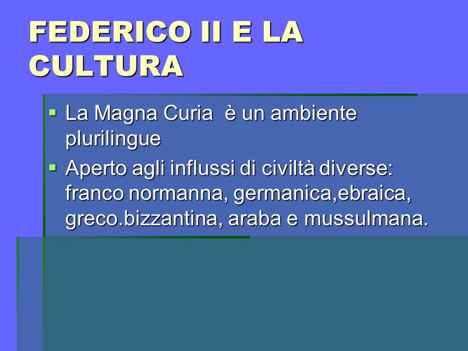 FEDERICO II E LA CULTURA La Magna Curia è un ambiente plurilingue La Magna Curia è un ambiente plurilingue Aperto agli influssi di civiltà diverse: fr