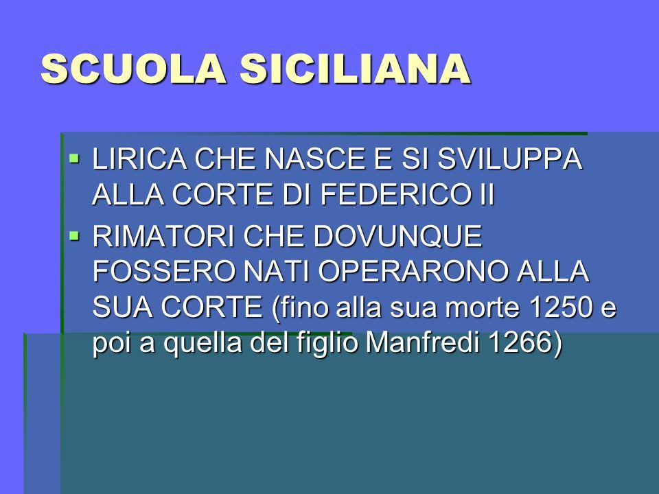TEMI Lirica provenzale:vari temi Lirica provenzale:vari temi Scuola poetica siciliana argomento unico: l AMORE.