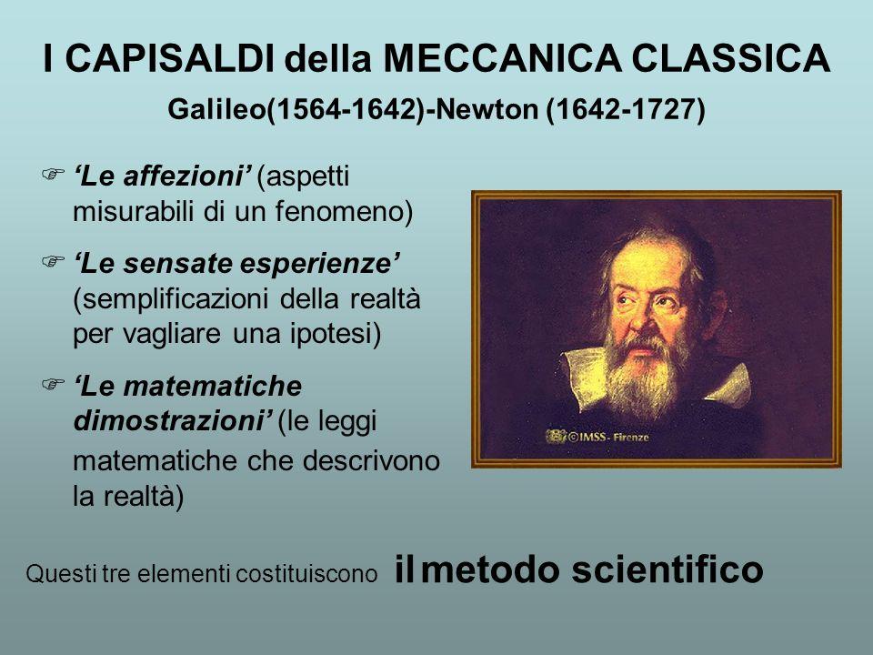 I CAPISALDI della MECCANICA CLASSICA Galileo(1564-1642)-Newton (1642-1727) Le affezioni (aspetti misurabili di un fenomeno) Le sensate esperienze (sem