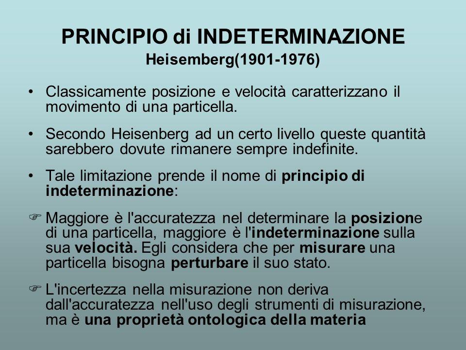 PRINCIPIO di INDETERMINAZIONE Heisemberg(1901-1976) Classicamente posizione e velocità caratterizzano il movimento di una particella. Secondo Heisenbe