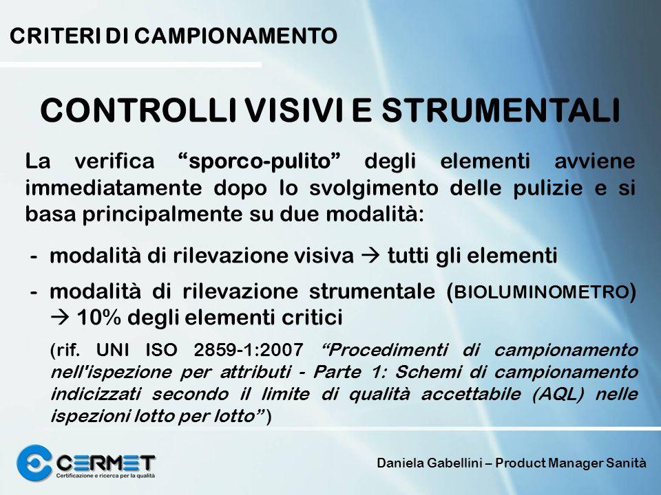 Daniela Gabellini – Product Manager Sanità CONTROLLI VISIVI E STRUMENTALI CRITERI DI CAMPIONAMENTO La verifica sporco-pulito degli elementi avviene im