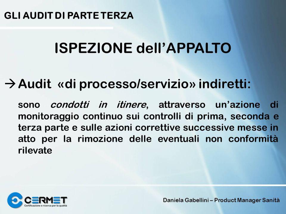 Daniela Gabellini – Product Manager Sanità GLI AUDIT DI PARTE TERZA ISPEZIONE dellAPPALTO Audit «di processo/servizio» indiretti: sono condotti in iti