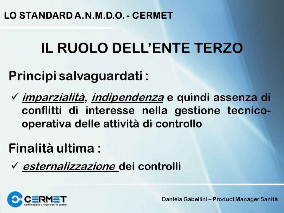 Daniela Gabellini – Product Manager Sanità LO STANDARD A.N.M.D.O. - CERMET IL RUOLO DELLENTE TERZO Principi salvaguardati : imparzialità, indipendenza